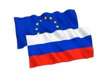 Bandiere di Unione Europea e del Russo Fotografia Stock Libera da Diritti