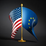 Bandiere di Unione Europea e dell'americano Fotografia Stock Libera da Diritti