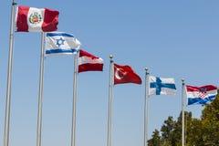 Bandiere di vari paesi con gli alberi nei precedenti immagini stock