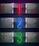 Bandiere di vetro e del metallo con i numeri al neon Fotografia Stock Libera da Diritti