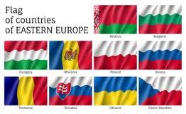 Bandiere di vettore dei paesi dell'Europa Orientale Immagini Stock