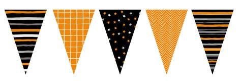 Bandiere disegnate a mano sveglie della stamina di vettore di progettazione Decorazione a Halloween Royalty Illustrazione gratis