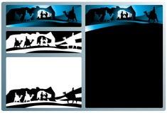 Bandiere e lettera di natività Fotografia Stock