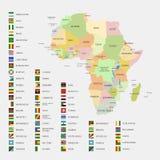 Bandiere e mappa dell'Africa Fotografie Stock Libere da Diritti