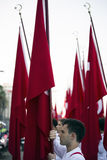 Bandiere e studenti di Turish Fotografia Stock
