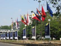 Bandiere ed insegne a Jakarta Immagini Stock Libere da Diritti