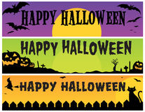 Bandiere felici di Halloween Fotografie Stock Libere da Diritti