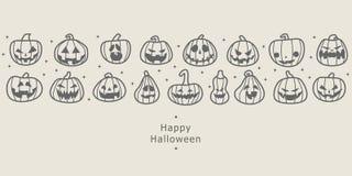 Bandiere felici di Halloween Fila progettata piana delle zucche illustrazione vettoriale