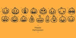 Bandiere felici di Halloween Fila progettata piana delle zucche royalty illustrazione gratis