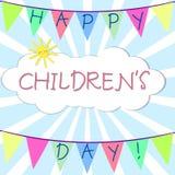 Bandiere festive con le congratulazioni Nuvola e sole su un fondo dei raggi Giorno felice del ` s dei bambini illustrazione vettoriale