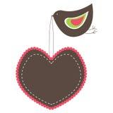 Bandiere a forma di del cuore dentellare con l'uccello. Immagini Stock