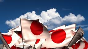 Bandiere giapponesi d'ondeggiamento illustrazione di stock