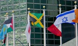 Bandiere internazionali nella parte anteriore del quartiere generale di nazioni unite a New York Fotografia Stock