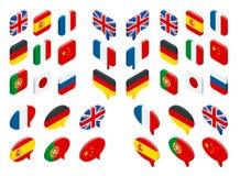 Bandiere isometriche dell'insieme del mondo Il vettore isolato inbandiera le icone illustrazione vettoriale