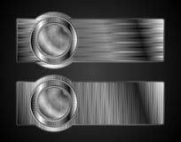 Bandiere metalliche astratte con stile alta tecnologia Fotografie Stock Libere da Diritti