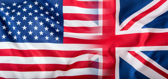 Bandiere miste di U.S.A. e del Regno Unito Bandierina del Jack del sindacato Immagini Stock Libere da Diritti