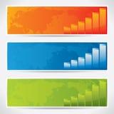 Bandiere moderne con il programma ed i diagrammi di mondo Immagini Stock