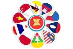 Bandiere nazionali dei sindacalisti di ASEAN Immagini Stock Libere da Diritti