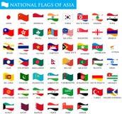 Bandiere nazionali dell'Asia Immagine Stock