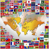Bandiere nazionali e mappa del mondo Immagini Stock