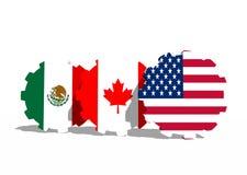 Bandiere nazionali nordamericane dei membri di accordo di libero commercio Fotografia Stock Libera da Diritti