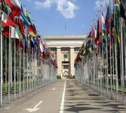 Bandiere nazionali, ONU, Ginevra, Switzeland Fotografia Stock Libera da Diritti