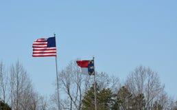 Bandiere nella brezza Fotografia Stock Libera da Diritti