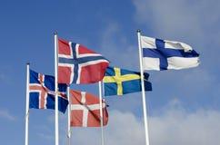 Bandiere nordiche Fotografie Stock Libere da Diritti