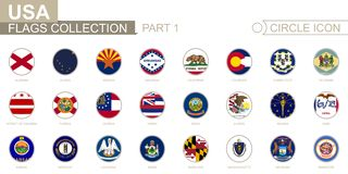 Bandiere in ordine alfabetico messe del cerchio degli stati USA Insieme delle bandiere rotonde illustrazione vettoriale