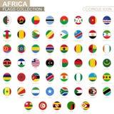 Bandiere in ordine alfabetico messe del cerchio dell'Africa Insieme delle bandiere rotonde illustrazione di stock