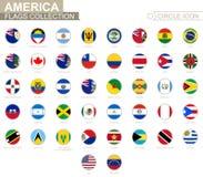 Bandiere in ordine alfabetico messe del cerchio dell'America Insieme delle bandiere rotonde illustrazione di stock