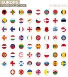 Bandiere in ordine alfabetico messe del cerchio di Europa Insieme delle bandiere rotonde illustrazione di stock
