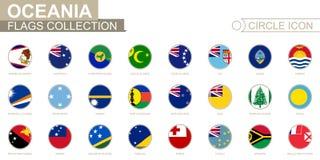 Bandiere in ordine alfabetico messe del cerchio di Oceania Insieme delle bandiere rotonde illustrazione di stock