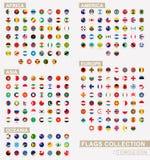 Bandiere in ordine alfabetico messe del cerchio del mondo Insieme delle bandiere rotonde illustrazione di stock