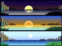 Bandiere orizzontali della città di giorno e di notte Fotografia Stock Libera da Diritti