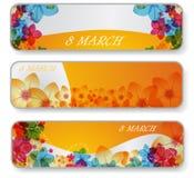 Bandiere per l'8 marzo Immagine Stock Libera da Diritti