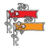 Bandiere per vino rosso e bianco Fotografia Stock
