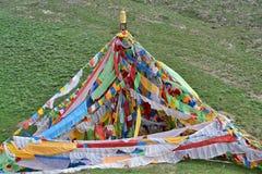Bandiere più grige tibetane Immagine Stock Libera da Diritti