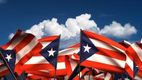Bandiere portoricane d'ondeggiamento illustrazione vettoriale