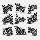 Bandiere a quadretti d'ondeggiamento messe Immagini Stock Libere da Diritti