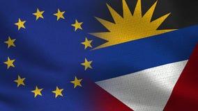 Bandiere realistiche dell'Antigua e Barbuda e di UE mezze insieme illustrazione di stock