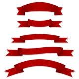 Bandiere rosse dei nastri Immagine Stock