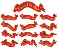 Bandiere rosse di Buon Natale impostate Fotografie Stock Libere da Diritti