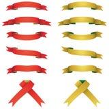 Bandiere rosse e gialle impostate Immagini Stock Libere da Diritti