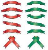 Bandiere rosse e verdi lucide impostate Immagine Stock
