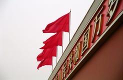 Bandiere rosse sul Tian uomini Fotografie Stock Libere da Diritti