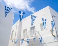 Bandiere su Mykonos Fotografia Stock