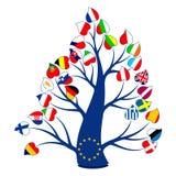 Bandiere sull'albero illustrazione di stock