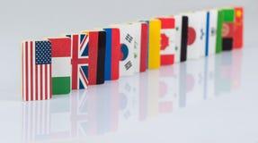 Bandiere sulla superficie di bianco Fotografie Stock
