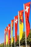 Bandiere svizzere e bandiere di cantone di Ginevra Fotografia Stock